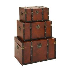 Timeless Designed Wood Leather Trunk - Set Of 3