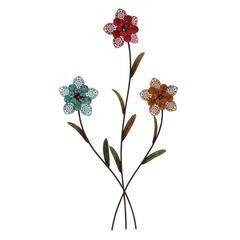 Benzara Wall Decorative Three Metal Wall Flower With Red, Blue And Yellow Shade