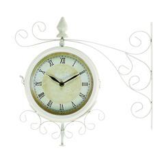 Benzara Metal Outdoor Double Clock With Easy To Mount Wall Bracket