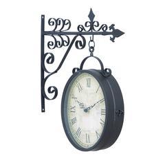 Benzara Metal Outdoor Double Clock Very Useful Decor