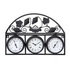 Metal Outdoor Clock With Thermometer With Ambient Temperature Check