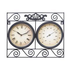 Benzara Metal Outdoor Clock Thermometer With Different Dials