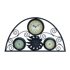 Benzara Metal Clock Thermometer With Distinctive Pattern