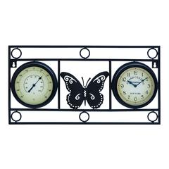 Clock Thermometer With Bold Metal Butterfly Motif