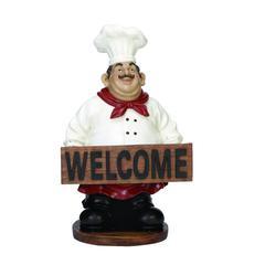 Brown, White And Black Polystone Chef