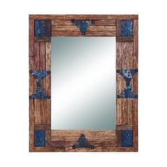 "Classy 36"" Wood And Mirror With Metallic Trinkets On The Edges"