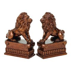 Benzara Polystone Lion Bookend Pair Unique Table And Shelf Decor With Utility