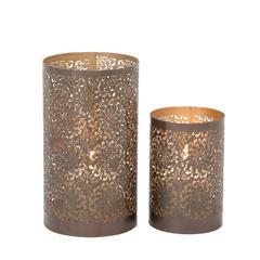 37035 Metal Candle Lantern'set Of 2