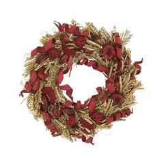 Benzara Fascinating Christmas Wreath In Red Color