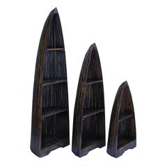 Wooden Boat With Distinctive Design In Brown Finish - Set Of 3
