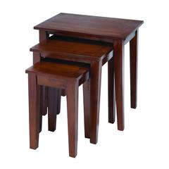 Benzara Nested Wooden Table In Glossy Chocolate Brown Finish - Set Of 3