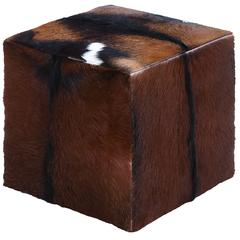Wooden Sq Goat Leather Covered Stool In Red With Block Design