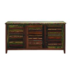 Benzara Multicolor Miraballa Sideboard In Solid Teak With Three Doors