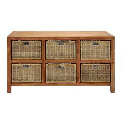 Benzara Wooden Hanna Baskets In Brown Finish With Six Compartments