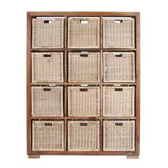 "Benzara Wooden Teak Rattan Solid Basket With Twelve Compartments 65"" H"