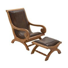 Benzara Timeless Wood Leather Chair Ottoman Set Of 2