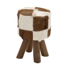 Benzara Cool Wood Round Brown Goat Foot Stool