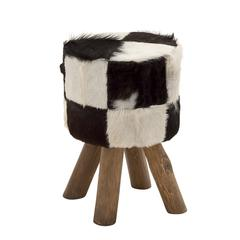 Benzara Unmissable Wood Round Black Goat Foot Stool