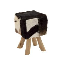 Benzara Timeless Wood Square Black Goat Foot Stool