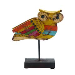 Benzara Fascinating Sassy Styled Wood Painted Owl