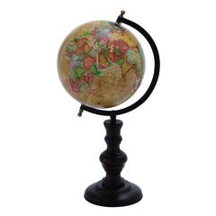 Benzara Metal Globe With Intricate Detailing And Smooth Brown Wooden Base