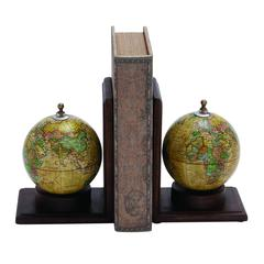 Benzara Contemporary Wooden And Metal Globe Bookend With Simple Design
