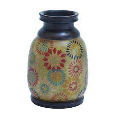 Benzara Durable Terracotta Pot With Dainty Floral Motifs