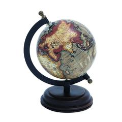 Benzara Metal Wooden Globe With Distinctive Pattern