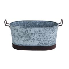Benzara Metal Galvn Oval Tub With Flawless Design And Ornate Handles