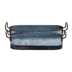 Benzara Galvn Metal Planter In Brown And Grey With Rust Design - Set Of 2