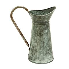 Benzara Galvanized Watering Jug With A Slender Wide Handle