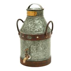 Benzara Metal Galvanized Milk Can With Rust Finished Handles