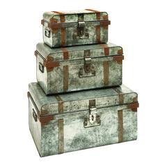 Benzara Galvanized Trunk With Rivets And Metal Strips - Set Of 3