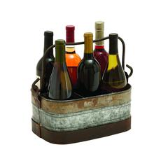 Benzara Galvanized Wine Holder With Six Compartments
