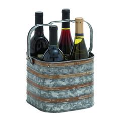 Rustic Metal Galvanize Four Bottle Holder