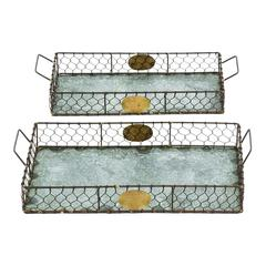 Hand Forged Metal Galvanized Tray Set Of Two