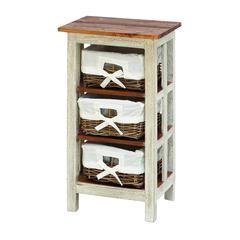 "Benzara Antiqued Wood Rattan Cabinet 29""H, 15""W"