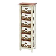 "Shabby Wood Rattan Cabinet 50""H, 16""W"