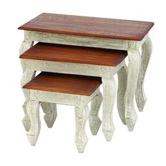 """Benzara Wood Nested Table Set/3 24"""", 18"""", 12""""W Accent Collection"""