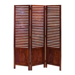Benzara Traditional Wooden Three Panel Screen With Sophisticated Look