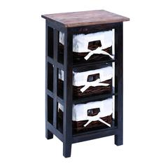 "Contemporary 29"" Wooden Rattan End Table With Wide Shelves"