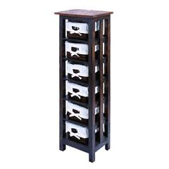 "Traditional 50"" Wooden Rattan Storage Table With 6 Shelves"