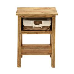 Benzara Light Weight & Easily Portable Side Table With One Rattan Drawer