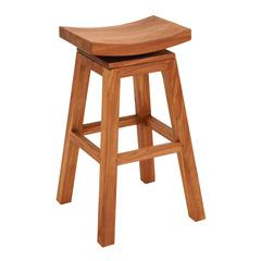 "Benzara Sophisticated Teakwood 30"" Bar Stool In Glossy Brown Finish"