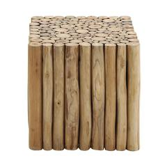 Benzara Square Shaped New Wooden Klaten Stool For Contemporary Decor