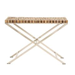 The Stunning Wood Teak Stainless Steel Console