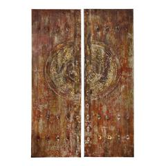 Benzara Canvas Art With Metallic Frontal In Brown Finish - Set Of 2