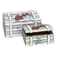 "Benzara Wood Box Set/2 10"", 7""W Nautical Maritime Decor"