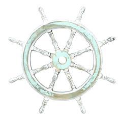 "Benzara Wood Ship Wheel 24""D Nautical Maritime Decor"
