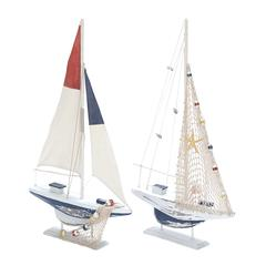 Benzara Assorted Wooden Sailing Boat In Red And Blue Finish - Set Of 2